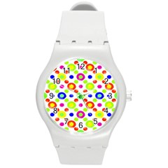 Multicolored Circles Motif Pattern Round Plastic Sport Watch (m) by dflcprints