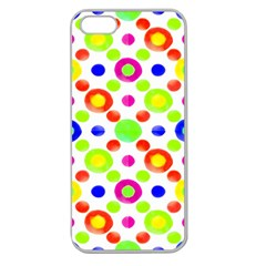 Multicolored Circles Motif Pattern Apple Seamless Iphone 5 Case (clear)
