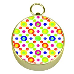 Multicolored Circles Motif Pattern Gold Compasses by dflcprints