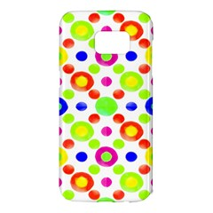 Multicolored Circles Motif Pattern Samsung Galaxy S7 Edge Hardshell Case by dflcprints