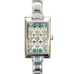 Nine Little Cartoon Dogs In The Green Grass Rectangle Italian Charm Watch by pepitasart