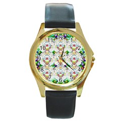 Nine Little Cartoon Dogs In The Green Grass Round Gold Metal Watch by pepitasart