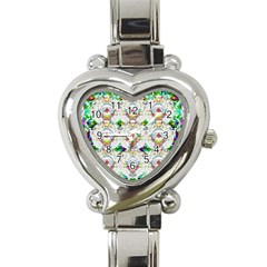 Nine Little Cartoon Dogs In The Green Grass Heart Italian Charm Watch by pepitasart