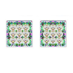 Nine Little Cartoon Dogs In The Green Grass Cufflinks (square) by pepitasart