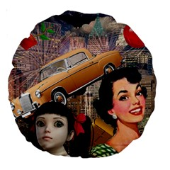 Out In The City Large 18  Premium Round Cushions by snowwhitegirl