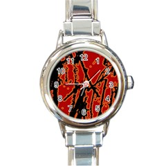 Vivid Abstract Grunge Texture Round Italian Charm Watch by dflcprints