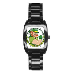 St  Patricks Day Stainless Steel Barrel Watch by Valentinaart