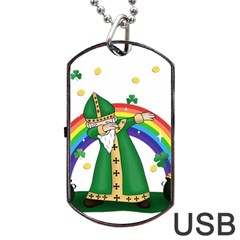 St  Patrick  Dabbing Dog Tag Usb Flash (two Sides) by Valentinaart