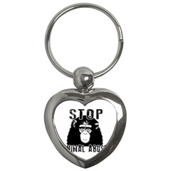 Stop Animal Abuse   Chimpanzee  Key Chains (heart)  by Valentinaart