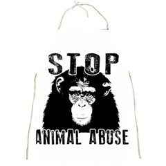 Stop Animal Abuse   Chimpanzee  Full Print Aprons by Valentinaart