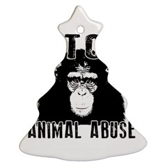 Stop Animal Abuse   Chimpanzee  Ornament (christmas Tree)  by Valentinaart
