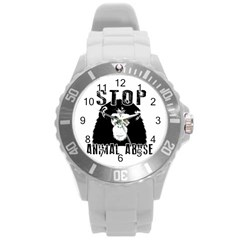 Stop Animal Abuse   Chimpanzee  Round Plastic Sport Watch (l) by Valentinaart