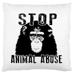 Stop Animal Abuse   Chimpanzee  Large Cushion Case (one Side) by Valentinaart