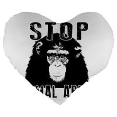 Stop Animal Abuse   Chimpanzee  Large 19  Premium Heart Shape Cushions by Valentinaart