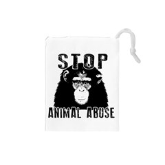 Stop Animal Abuse   Chimpanzee  Drawstring Pouches (small)  by Valentinaart