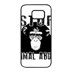 Stop Animal Abuse   Chimpanzee  Samsung Galaxy S7 Edge Black Seamless Case by Valentinaart