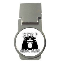 Stop Animal Abuse   Chimpanzee  Money Clips (round)  by Valentinaart