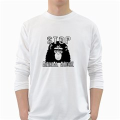 Stop Animal Abuse   Chimpanzee  White Long Sleeve T Shirts by Valentinaart
