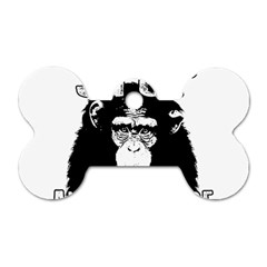 Stop Animal Abuse   Chimpanzee  Dog Tag Bone (two Sides) by Valentinaart