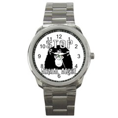 Stop Animal Abuse   Chimpanzee  Sport Metal Watch by Valentinaart