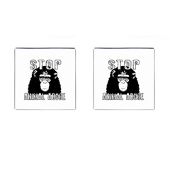 Stop Animal Abuse   Chimpanzee  Cufflinks (square) by Valentinaart