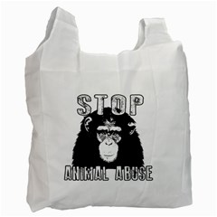 Stop Animal Abuse   Chimpanzee  Recycle Bag (two Side)  by Valentinaart