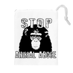 Stop Animal Abuse   Chimpanzee  Drawstring Pouches (extra Large) by Valentinaart