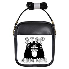 Stop Animal Abuse   Chimpanzee  Girls Sling Bags by Valentinaart