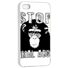 Stop Animal Abuse   Chimpanzee  Apple Iphone 4/4s Seamless Case (white) by Valentinaart