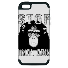 Stop Animal Abuse   Chimpanzee  Apple Iphone 5 Hardshell Case (pc+silicone)