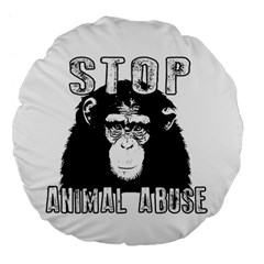 Stop Animal Abuse   Chimpanzee  Large 18  Premium Flano Round Cushions by Valentinaart