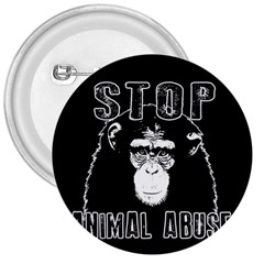 Stop Animal Abuse   Chimpanzee  3  Buttons by Valentinaart