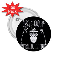 Stop Animal Abuse   Chimpanzee  2 25  Buttons (100 Pack)  by Valentinaart