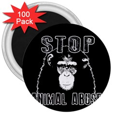 Stop Animal Abuse   Chimpanzee  3  Magnets (100 Pack) by Valentinaart