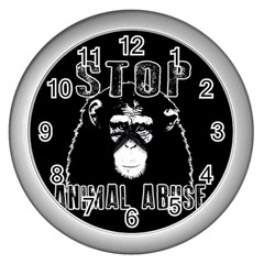 Stop Animal Abuse   Chimpanzee  Wall Clocks (silver)  by Valentinaart