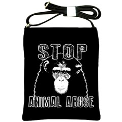 Stop Animal Abuse   Chimpanzee  Shoulder Sling Bags by Valentinaart