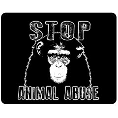 Stop Animal Abuse   Chimpanzee  Double Sided Fleece Blanket (medium)  by Valentinaart