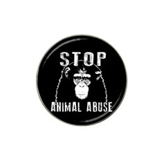Stop Animal Abuse   Chimpanzee  Hat Clip Ball Marker by Valentinaart