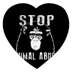 Stop Animal Abuse   Chimpanzee  Jigsaw Puzzle (heart) by Valentinaart
