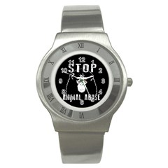Stop Animal Abuse   Chimpanzee  Stainless Steel Watch by Valentinaart