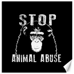 Stop Animal Abuse   Chimpanzee  Canvas 12  X 12   by Valentinaart