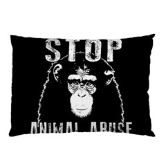 Stop Animal Abuse   Chimpanzee  Pillow Case (two Sides) by Valentinaart