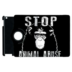 Stop Animal Abuse   Chimpanzee  Apple Ipad 3/4 Flip 360 Case by Valentinaart