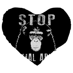Stop Animal Abuse   Chimpanzee  Large 19  Premium Flano Heart Shape Cushions by Valentinaart