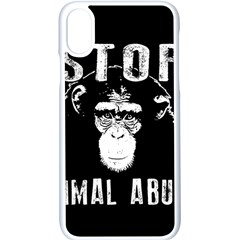 Stop Animal Abuse   Chimpanzee  Apple Iphone X Seamless Case (white) by Valentinaart