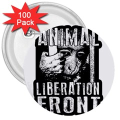 Animal Liberation Front   Chimpanzee  3  Buttons (100 Pack)  by Valentinaart