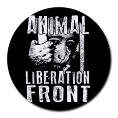 Animal Liberation Front   Chimpanzee  Round Mousepads by Valentinaart