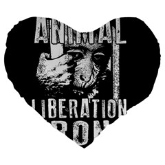 Animal Liberation Front   Chimpanzee  Large 19  Premium Heart Shape Cushions by Valentinaart