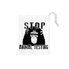 Stop Animal Testing   Chimpanzee  Drawstring Pouches (small)  by Valentinaart