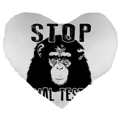 Stop Animal Testing   Chimpanzee  Large 19  Premium Flano Heart Shape Cushions by Valentinaart